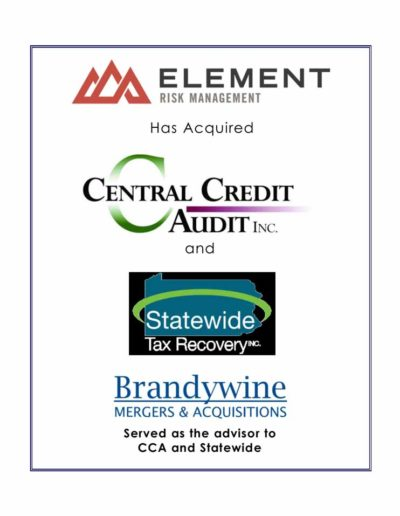 Element Risk Management acquires CCA INC. and Statewide Tax Recovery