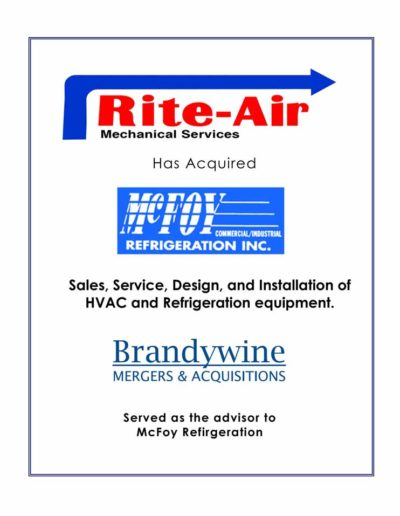Rite-Air Mechanical Services acquires McFoy Refrigeration