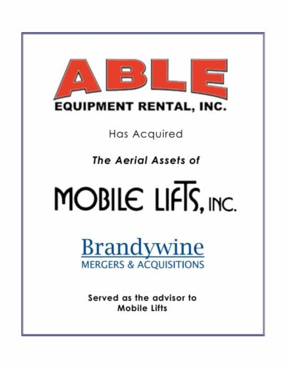 ABLE Equipment Rental, Inc. acquires Mobile Lifts