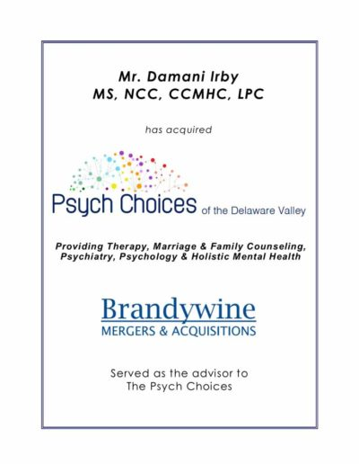 Mr. Damani Irby acquires Psych Choices