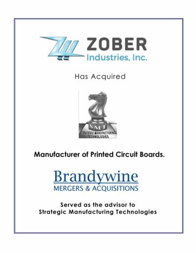 ZOBER Industries, Inc. acquires Strategic Manufacturing Technologies